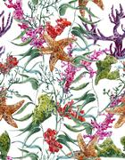 Shabby vintage watercolor sea life seamless pattern with seaweed starfish and - stock illustration