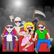Couple is watching a 3D horror movie in a cinema Piirros