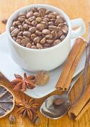 Coffee and aroma spice Stock Photos