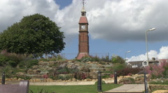 Clock Tower and Park in Seaton Town in Devon Stock Footage