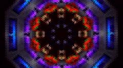 Abstract city lights kaleidoskop hexagon background pattern 3 Stock Footage