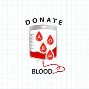 Donate blood  concept with bag blood and drop blood type Stock Illustration