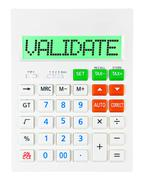 Calculator with VALIDATE - stock photo