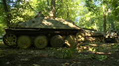 WWII German Tank in woods Stock Footage