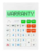 Calculator with WARRANTY - stock photo