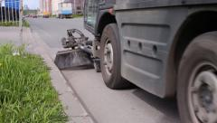 The Machine Cleans/Brushes The Asphalt road Stock Footage