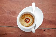 Coffee Stain in Empty espresso Coffee Cup - stock photo