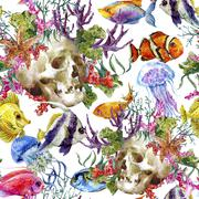 Watercolor shabby sea life seamless background with skull, underwater watercolor Stock Illustration