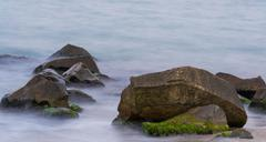 Sea water on slow shutter speed Stock Photos