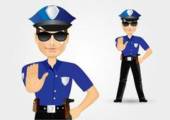 blonde female policewoman cop showing stop gesture - stock illustration