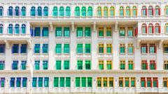 Colorful building of Ministry of culture, community and youth in Singapore Stock Photos