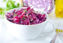salad with blue cabbage - stock photo