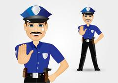 policeman with mustache showing stop gesture - stock illustration