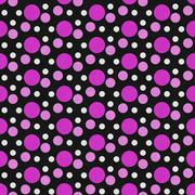 Pink, White and Black Polka Dot Tile Pattern Repeat Background Stock Illustration