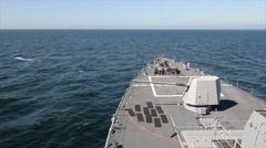 USS Jason Dunham (DDG 109) Fires its Gun Stock Footage
