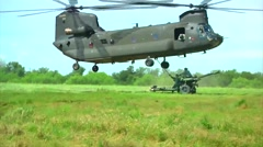 Guardsmen Conduct Helicopter Sling Load Training - stock footage