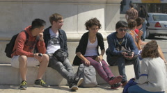 Young people discussing in Liberty Square, Porto Stock Footage