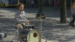 Young man playing drums, Porto Stock Footage