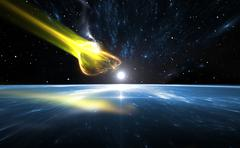 Falling comet and blue Planet Earth, illustration - stock illustration