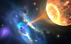 Black hole or a neutron star and pulling gas from an orbiting companion star. - stock illustration