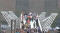 Timelapse London Tourists on Millennium Tate Modern Bridge Footage