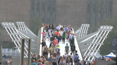 Timelapse London Tourists on Millennium Tate Modern Bridge Stock Footage