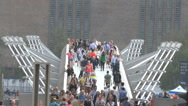 Stock Video Footage of Timelapse London Tourists on Millennium Tate Modern Bridge