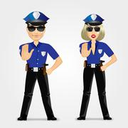 Confident policeman and policewoman Stock Illustration