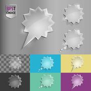 Stock Illustration of Set of glass speech bubble starburst icons with soft shadow on gradient
