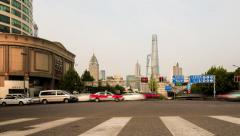 Crossing RenminRd-HenanS-Rd, Shanghai. Timelapse. China Stock Footage