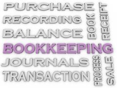 3d image Bookkeeping issues concept word cloud background - stock illustration