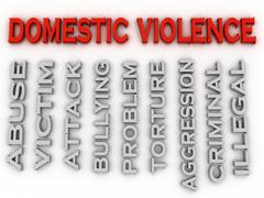 3d image Domestic violence issues concept word cloud background - stock illustration