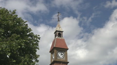 The Clock Tower and Weather Vane in Seaton Town in Devon - stock footage