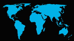 Moving stars on world map Stock Footage