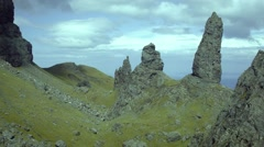 Static medium shot of the Old Man of Storr, Isle of Skye, Scotland Stock Footage