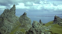 Static shot of the Old Man of Storr, Isle of Skye, Scotland Stock Footage