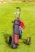 Stock Photo of Wheeled golf club bag