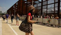 People queueing at Expo 2015 Stock Footage