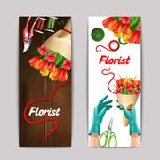 Florist Color Banner Set - stock illustration