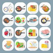 Home cooking flat icons set Stock Illustration