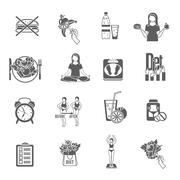 Weight loose diet black icons set Stock Illustration