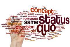 Status quo word cloud Stock Photos