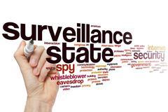 Surveillance state word cloud Stock Photos