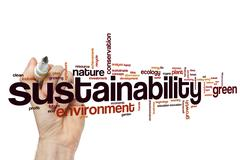 Sustainability word cloud concept - stock photo