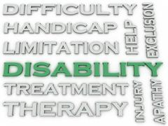 3d image Disability issues concept word cloud background Stock Illustration