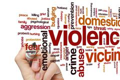 Violence cup word cloud - stock photo