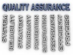 3d image Quality Assurance  issues concept word cloud background - stock illustration