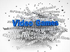 3d image Video games issues concept word cloud background Piirros