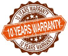 10 years warranty orange round grunge stamp on white - stock illustration