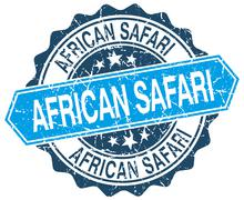 African safari blue round grunge stamp on white Stock Illustration